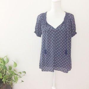 Joie Masha Printed Silk Short Sleeve Tassel Blouse